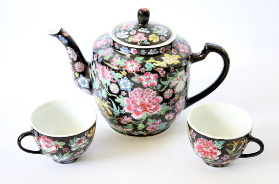 Chinese Millefleur Famille Noire Tea Set