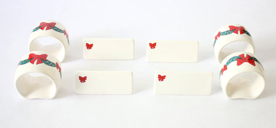Christmas place cards and napkin rings