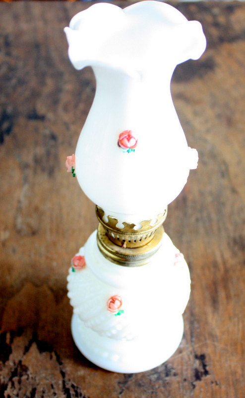 miniature hobnail oil lamp