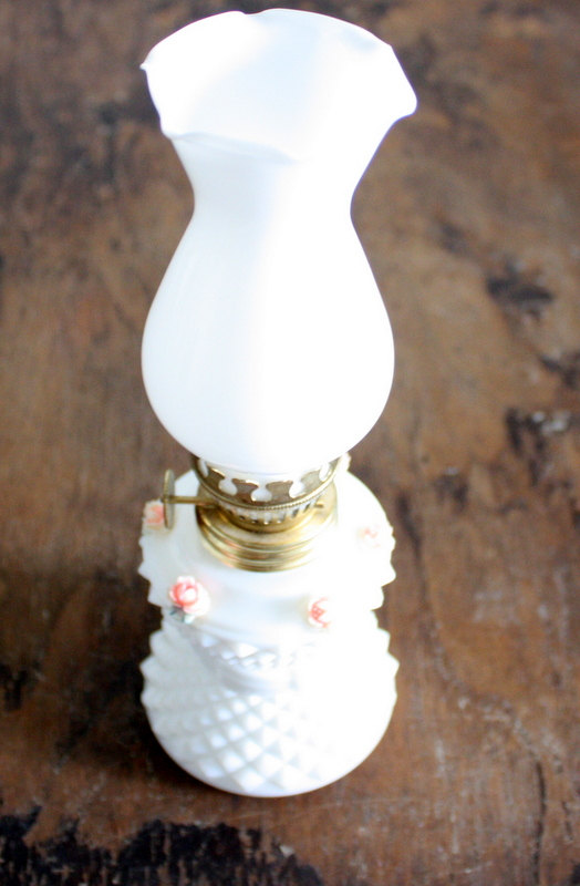 Miniature Diamond Cut Milk Glass Oil Lamp With Pink Roses