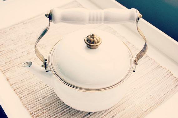 Vintage White Enamel Teapot