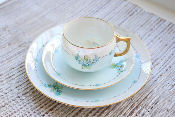Signed Thomas Jorgensen Lusterware Bavaria Lustraware Teacup, Saucer And Desert Plate Trio