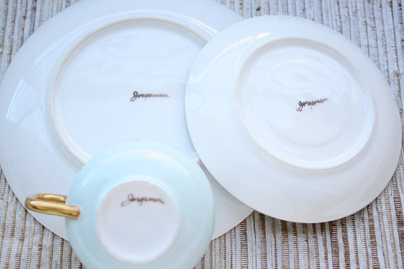 Signed Thomas Jorgensen Lusterware Bavaria Lustraware Teacup, Saucer And Desert Plate Trio