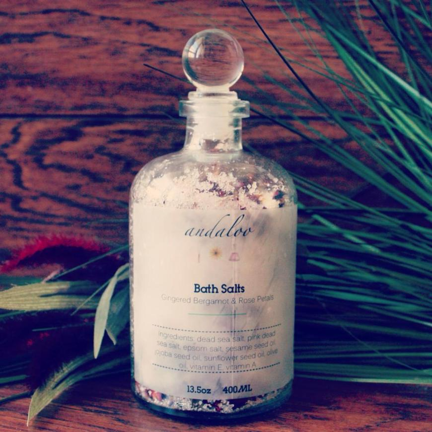 Gingered Bergamot And Rose Petals // Botanical Bath Salts // Home Spa In A Jar