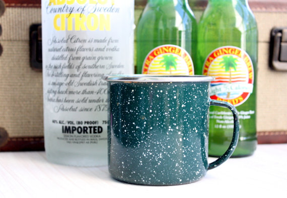Vintage Set Of 3 Enamel Speckled Mugs // Moscow Mule Mugs // Cocktail Mugs // Picnic Mugs