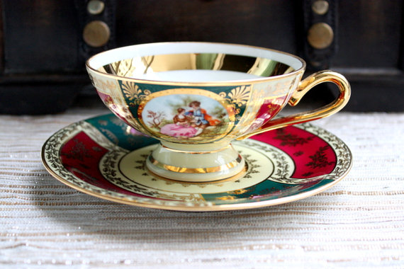 JK Decor Carlsbad China Cup And Saucer Set / Tea Set / Fragonard Lovers