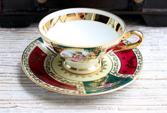 JK Decor Carlsbad China Cup And Saucer Set / Tea Set / Fragonard Lovers