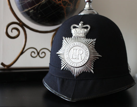 Vintage Leicester and Rutland Constabulary Helmet / British Police Memorabilia / English Bobby Police Helmet / English Police Hat