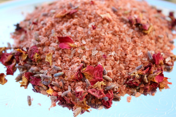 Rose Clay Bath Salts // Lavender And Peppermint // Botanical Bath Salts // Home Spa In A Jar // Rose Petals Lavender Buds