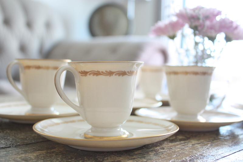 Click on photo to buy - Franciscan China Arcadia Gold Set Of 8 Footed Demitasse Cups And Saucers