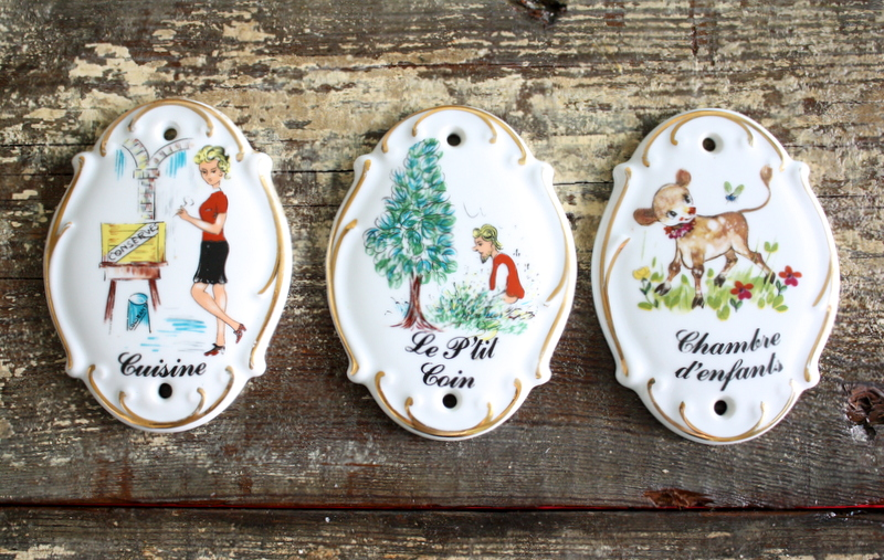Click on photo to buy - Vintage French Hand Painted Room/Door Signs