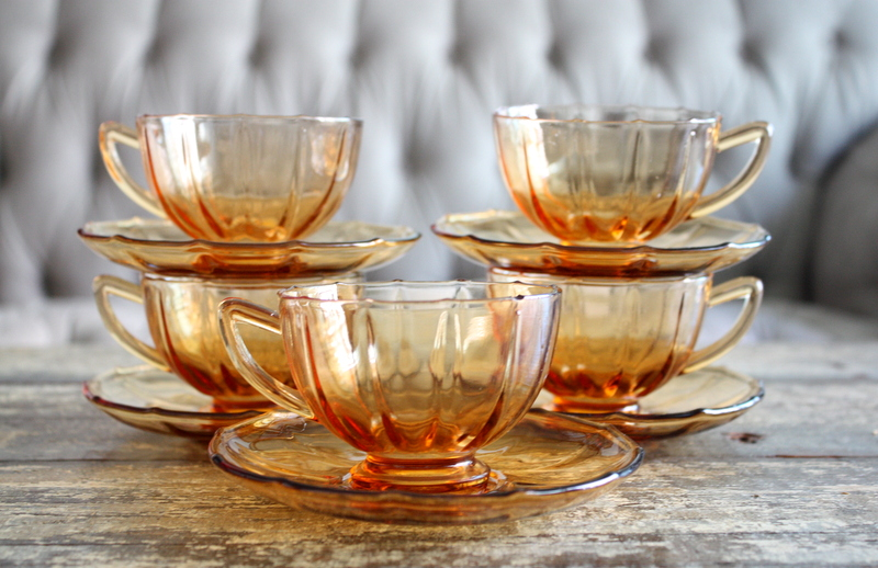 Click on photo - Vintage Set Of Five Amber Glass Cups And Saucers